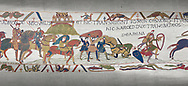Bayeux Tapestry scene 17 : Crossing the Couesnon River near Mont St Michele, Duke Williams Soldiers sink in quicksand. .<br /> <br /> If you prefer you can also buy from our ALAMY PHOTO LIBRARY  Collection visit : https://www.alamy.com/portfolio/paul-williams-funkystock/bayeux-tapestry-medieval-art.html  if you know the scene number you want enter BXY followed bt the scene no into the SEARCH WITHIN GALLERY box  i.e BYX 22 for scene 22)<br /> <br />  Visit our MEDIEVAL ART PHOTO COLLECTIONS for more   photos  to download or buy as prints https://funkystock.photoshelter.com/gallery-collection/Medieval-Middle-Ages-Art-Artefacts-Antiquities-Pictures-Images-of/C0000YpKXiAHnG2k