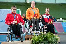 Marc Schuh, Kenny Van Weeghel, Marcel Hug, 2014 IPC European Athletics Championships, Swansea, Wales, United Kingdom