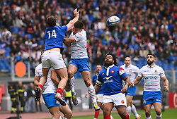 March 16, 2019 - Rome, Italy - Damian Penaud and Mathieu Bastareaud during RBS Six Nations Rugby Championship, Italia v Francia at the Olympic Stadium in Rome, on march 16, 2019  (Credit Image: © Silvia Lore/NurPhoto via ZUMA Press)