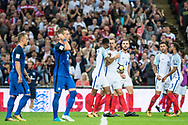 (9) Harry Kane, (3) Ryan Bertrand, (8) Eric Dier during the FIFA World Cup Qualifier match between England and Slovakia at Wembley Stadium, London, England on 4 September 2017. Photo by Sebastian Frej.