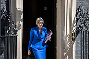 Prime Minister Theresa May leaves Downing Street to attend her final Prime Ministers Question Time at the House of Commons on 24th July, 2019 in London,United Kingdom.