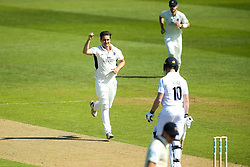 Tim Murtagh of Middlesex celebrates taking the wicket of Luis Reece of Derbyshire- Mandatory by-line: Robbie Stephenson/JMP - 20/04/2018 - CRICKET - The 3aaa County Ground  - Derby, England - Derbyshire CCC v Middlesex CCC - Specsavers County Championship Division Two
