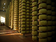 Hundreds of blocks of cheese are stacked high in the famous Parma cheese factory