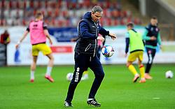 Cheltenham Town manager Michael Duff kicks the ball - Mandatory by-line: Nizaam Jones/JMP - 21/11/2020 - FOOTBALL - Jonny-Rocks Stadium - Cheltenham, England - Cheltenham Town v Walsall - Sky Bet League Two
