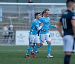 Forfar Athletic's Dale Hilson (left) celebrates after scoring their first goal. Forfar Athletic 3 v 2 Raith Rovers, Scottish Football League Division One played 27/10/2018 at Forfar Athletic's home ground, Station Park, Forfar.