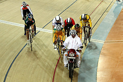 The motorcycle leads the pack during the Keirin Round in the Velodrome at the Indira Gandhi Sports Complex in New Delhi as part of the X1X Commonwealth Games, India on the 5 October 2010..Photo by:  Ron Gaunt/SPORTZPICS/PHOTOSPORT