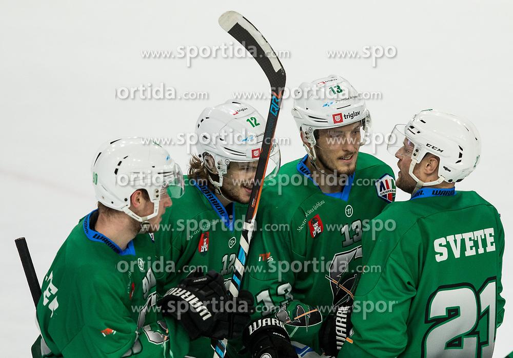 Anej Kujavec of SZ Olimpija, Janez Orehek of SZ Olimpija,  Aljaz Chvatal of SZ Olimpija and Ziga Svete of SZ Olimpija celebrate after scoring sixth goal during ice hockey match between HK SZ Olimpija and WSV Sterzing Broncos Weihenstephan (ITA) in Round #12 of AHL - Alps Hockey League 2018/19, on October 30, 2018, in Hala Tivoli, Ljubljana, Slovenia. Photo by Vid Ponikvar / Sportida