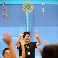 Mandi Tsikewa guides students through a counting exercise at Dowa Yalanne Elementary in Zuni Wednesday.   The school was recently upgraded from an F to an A rating by the New Mexico Department of Education.