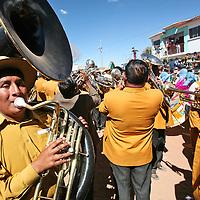 A Tuba player in a brass band in a fiesta near Eucaliptus, Oruro Department, Bolivia