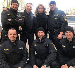 """Veronica Ferres releases a photo on Instagram with the following caption: """"Ich habe heute beim Stadtbummel diese Jungs getroffen. Zuerst dachte ich, mein T\u00dcV sei abgelaufen - doch dann wollten diese netten Polizisten nur ein Foto mit mir haben. \ud83d\udcf8 Ich bin froh, dass diese Menschen uns jeden Tag besch\u00fctzen. Coole Jungs! \ud83d\ude0e\ud83d\udcaa\n#police #polizei #polizeim\u00fcnchen #grouppic"""". Photo Credit: Instagram *** No USA Distribution *** For Editorial Use Only *** Not to be Published in Books or Photo Books ***  Please note: Fees charged by the agency are for the agency's services only, and do not, nor are they intended to, convey to the user any ownership of Copyright or License in the material. The agency does not claim any ownership including but not limited to Copyright or License in the attached material. By publishing this material you expressly agree to indemnify and to hold the agency and its directors, shareholders and employees harmless from any loss, claims, damages, demands, expenses (including legal fees), or any causes of action or allegation against the agency arising out of or connected in any way with publication of the material."""
