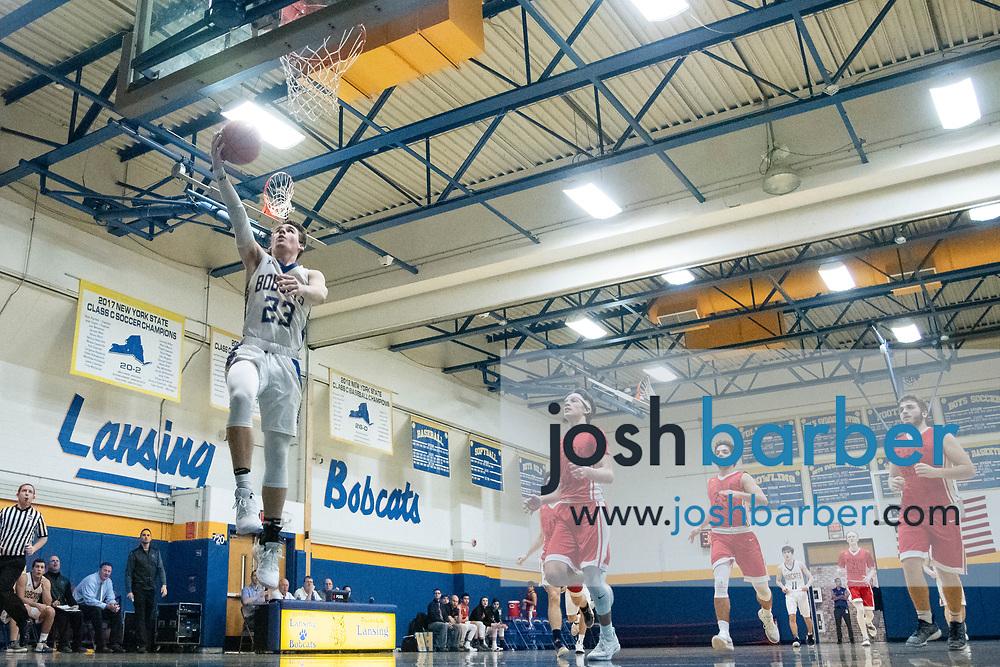 Lansing's Garrett Bell during the game at Lansing High School on Thursday, December 20, 2018 in Lansing, New York. (Photo/Josh Barber)