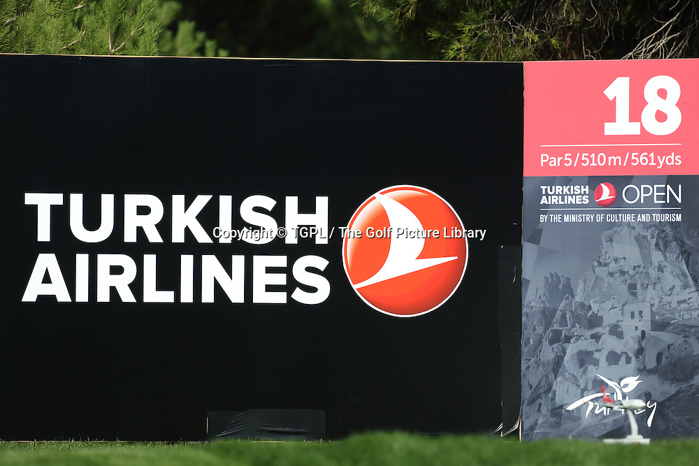 Sponsor signage on 18th tee during second round Turkish Airlines Open by Ministry of Culture and Tourism 2013,Montgomerie Course at Maxx Royal,Belek,Antalya,Turkey.