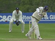 Shenley, Middlsex. ENGLAND, Sri Lanka Tour match.<br /> Photo Peter Spurrier<br /> 11/05/2002<br /> Sport - Cricket - Middlesex vs Sri Lanka -Shenley:<br /> Jayasuriya striking a boundary.                             [Mandatory Credit:Peter SPURRIER/Intersport Images]
