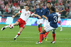 09.06.2011, Stadion Wojska, Warschau, POL, FSP, Poland vs France, im Bild ROBERT LEWANDOWSKI (L), PATRICE EVRA (P), EXPA Pictures © 2011, PhotoCredit: EXPA/ Newspix/ CYFRASPORT/ LUKASZ GROCHALA +++++ ATTENTION - FOR AUSTRIA/ AUT, SLOVENIA/ SLO, SERBIA/ SRB an CROATIA/ CRO, SWISS/ SUI and SWEDEN/ SWE CLIENT ONLY +++++
