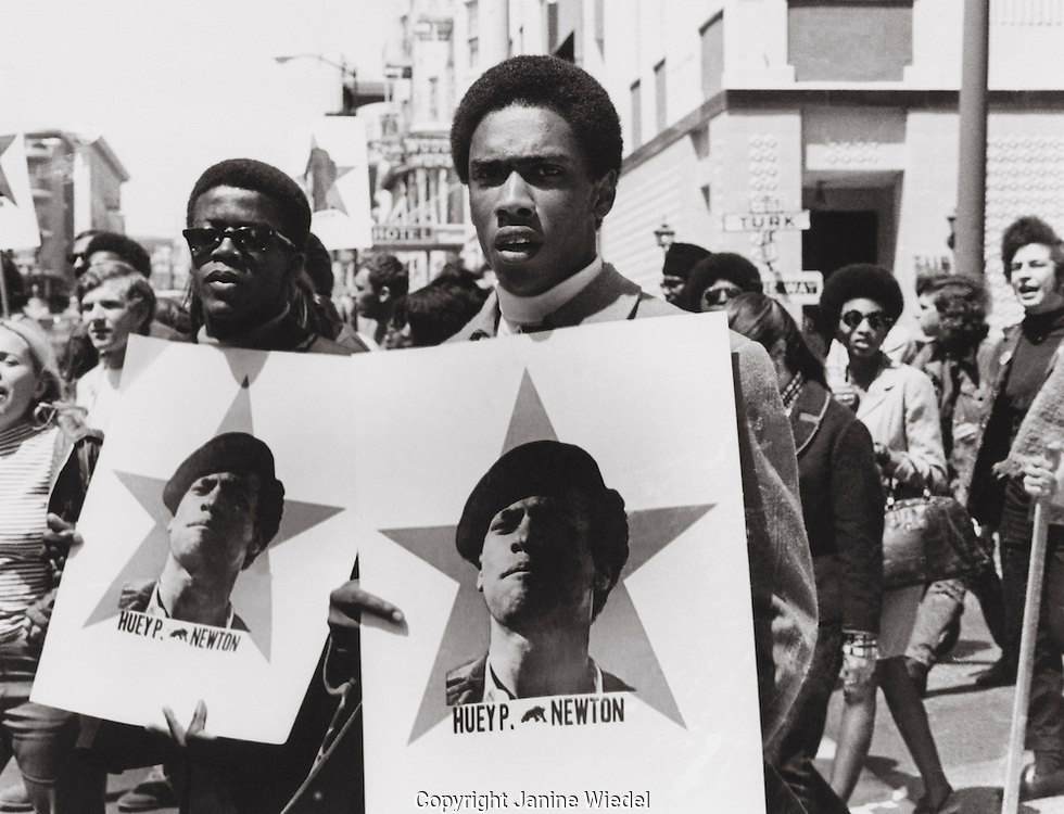 Black Panther March in Oakland  California in late 60's to free Huey Newton.