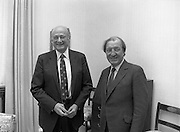 Mayor of New York, Ed Koch, with Taoiseach.14/10/1982  Mayor Koch of New York visits Taoiseach..1982.14.10.1982.10.14.1982.14th October 1982..The Taoiseach, Mr Charles Haughey Greets the Mayor of New York, Mr Edward Koch on his arrival at Government Buildings,Dublin.