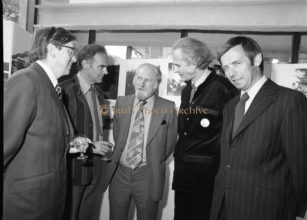 """20/06/1979.06/20/1979.20th June 1979.An exhibition of photographs presented by the Norwegian Foreign Ministry as a gift to the Department of Architecture, Bolton Street, Dublin entitled """"New Architecture from Norway"""" opened at the Kilkenny Design Shop, Nassau Street. Picture shows (from left) Mr John J O'Keeffe, Head of Architecture, Bolton, Bolton Street, Dublin; Mr Ragnvald Bing Lorentzen, President Norwegian Architects League; Mr Oscar Richardson, President, Royal Institute of the Architects of Ireland, Mr Dag Rognlion, Architect, Oslo who designed and mounted the exhibition and Mr Jim King, Chief Executive, Kilkenny Design Workshops at the exhibitions opening."""
