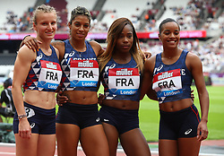 July 22, 2018 - London, United Kingdom - L-R  Orlann Ombissa -Dzangue, Stella Akakpo, Jennifer Galais and Amandine Brossier of FranceTeam after the 4 x 100m Relay Women.during the Muller Anniversary Games IAAF Diamond League Day Two at The London Stadium on July 22, 2018 in London, England. (Credit Image: © Action Foto Sport/NurPhoto via ZUMA Press)