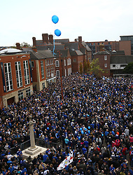 Leicester City fans take part in a memorial walk from Jubilee Square in Leicester to the King Power Stadium, in honour of the club's owner Vichai Srivaddhanaprabha and four others who died in a helicopter crash outside the stadium on October 27.