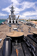 Anchor winches on the aft deck  of the battleship Missouri. Battleship Missouri Memorial, Pearl Harbour, Hawaii