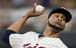 September 13, 2017 - Minneapolis, MN, USA - Minnesota Twins starting pitcher Ervin Santana works in the first inning against the San Diego Padres on Wednesday, Sept. 13, 2017, at Target Field in Minneapolis. (Credit Image: © Carlos Gonzalez/TNS via ZUMA Wire)