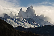 Argentina's Fritz Roy jagged mountain tops and extreme winds kick up the ice from the granite peaks.