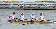 Amsterdam. NETHERLANDS.   USA W4-. Bow Zsuzsanna FRANCIA, Emily REGAN, Tessa GOBBO and Adrienne MARTELLI. Silver Medalist Women's Four.  De Bosbaan Rowing Course, venue for the 2014 FISA  World Rowing. Championships. 16:08:49  Friday  29/08/2014.  [Mandatory Credit; Peter Spurrier/Intersport-images]