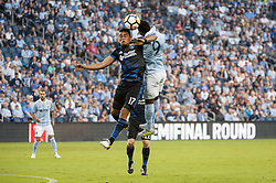 August 9, 2017 - Kansas City, Kansas, United States - Kansas City, KS - Wednesday August 9, 2017: Darwin Cerén and Latif Blessing during a Lamar Hunt U.S. Open Cup Semifinal match between Sporting Kansas City and the San Jose Earthquakes at Children's Mercy Park. (Credit Image: © Amy Kontras/ISIPhotos via ZUMA Wire)