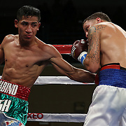 KISSIMMEE, FL - MARCH 06:  Gabino Cota (L) lands a body shot against Jonathan Oquendo as they fight for the WBO Latino Flyweight Title during the Telemundo Boxeo boxing match at the Kissimmee Civic Center on March 6, 2015 in Kissimmee, Florida. Oquendo won the belt after a 10 round unanimous decision on the scorecards. (Photo by Alex Menendez/Getty Images) *** Local Caption *** Jonathan Oquendo; Gabino Cota