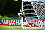 Gareth Bale of Wales collects the ball from the back of the net during the Wales football team training at the Vale Resort, Hensol near Cardiff, South Wales on Monday 8th June 2015. The Wales team are preparing for their forthcoming Euro 2016 qualifying match against Belgium.<br /> pic by Andrew Orchard, Andrew Orchard sports photography.