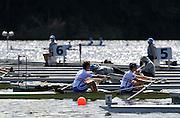 Hamilton, NEW ZEALAND.  GBR LM2-, Bow Adam FREEMAN-PASK and Chris BODDY, Lightweight Men's Pair Repechage1, 2010 World Rowing Championships on Lake Karapiro, Tuesday - 02.11.2010, [Mandatory Credit Peter Spurrier:Intersport Images].