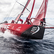 Leg 02, Lisbon to Cape Town, day 19, on board MAPFRE, Antonio Cuervas-Mons at the bow during a pilling, Sophie Ciszek holding the sail behind him. Photo by Ugo Fonolla/Volvo Ocean Race. 23 November, 2017