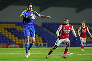 AFC Wimbledon striker Ollie Palmer (9) controlling ball on chest during the EFL Trophy match between AFC Wimbledon and U21 Arsenal at Plough Lane, London, United Kingdom on 8 December 2020.