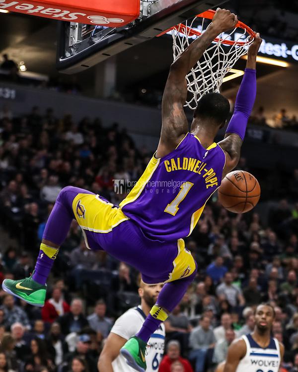 Feb 15, 2018; Minneapolis, MN, USA; Los Angeles Lakers guard Kentavious Caldwell-Pope (1) dunks during the second quarter against the Minnesota Timberwolves at Target Center. Mandatory Credit: Brace Hemmelgarn-USA TODAY Sports