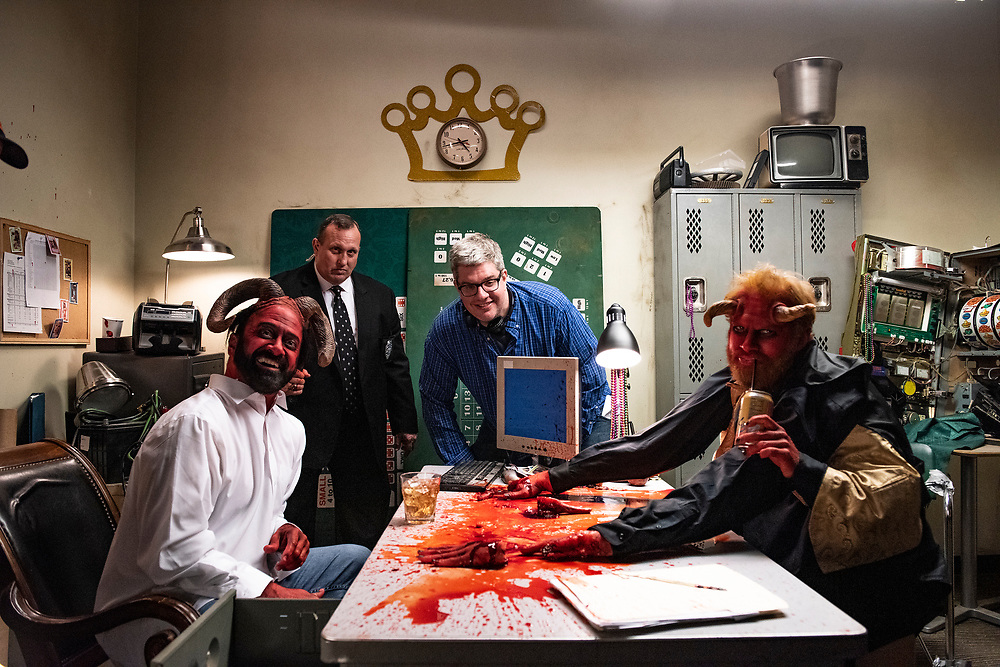 """Matt Servitto, Chris """"Casper"""" Kelly, and Henry Zebrowski on the set of Adult Swim's Your Pretty Face is Going to Hell"""