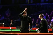 Ronnie O'Sullivan of England waves to the crowd after his 4-0 victory in his 2nd round match against Graeme Dott of Scotland. ManBetx Welsh Open Snooker 2018, day three at the Motorpoint Arena in Cardiff, South Wales on Wednesday 28th February 2018.<br /> pic by Andrew Orchard, Andrew Orchard sports photography.