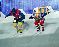 04-02-2012 SKATING: RED BULL CRASHED ICE WORLD CHAMPIONSHIP: VALKENBURG<br /> (L-R) Sascha Stoefelmayer AUT, Ian Coumans NED<br /> ©2012-FotoHoogendoorn.nl / Peter Schalk