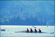 1989 World Rowing Championships, Lake Bled, Slovenia, YUGOSLAVIA,  USA LM4X, Bow,Kenneth GREEN, Stephen PETERSON, William PHELPS and Charles ENGEMAN, Church, Island,  Photo  Peter Spurrier. .email images@intersport-images.Originals Transparencies . Rowing course: Lake Bled