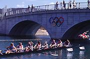 Sydney, AUSTRALIA, GBR m8+ move away from the start pontoon at the 2000 Olympic Regatta, Penrith Lakes. [Photo Peter Spurrier/Intersport Images]  LINDSAY, Andrew, HUNT-DAVIS, Ben, DENNIS, Simon, ATTRILL, Louis, GRUBOR, Luka, WEST, Kieran.SCARLETT, Fred, TRAPMORE Steve and cox DOUGLAS, Rowley 2000 Olympic Regatta Sydney International Regatta Centre (SIRC) 2000 Olympic Rowing Regatta00085138.tif