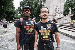July 29, 2017 - New York, New York, United States - (photo: Sachelle Babbar)  Coordinated with a simultaneous demonstration at The White House in Washington D.C., a event took place at NYC's Columbus Circle in protest of the transgender ban in the US military.  The protest groups have widely cited Trump's own five 'draft dodges'' to discredit this latest move being seen as regressive and pandering to Christian groups, the alt-right, and the far- and radical-right spectrum.  Harlem Pride was among the sponsors.  The demonstration then joined the protest against the attacks on the Affordable Care Act (ACA) in front of Trump Tower. (Credit Image: © Sachelle Babbar via ZUMA Wire)