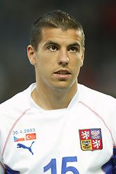 TEPLICE, CZECH REPUBLIC - Wednesday, April 30, 2003: Czech Republic and Liverpool striker Milan Baros pictured before a friendly match against Turkey at the Teplice Stadion Na Stinadlech. (Pic by David Rawcliffe/Propaganda)