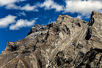 Mount Costigan: A dramatic view of the rugged and treacherous Mount Costigan that is adjacent to Lake Minnewanka, Banff National Park, Alberta Canada.