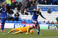 Matthew Connolly of Cardiff city breaks away from Joe Garner of Preston North End.  Skybet football league championship match, Cardiff city v Preston NE at the Cardiff city stadium in Cardiff, South Wales on Saturday 27th Feb 2016.<br /> pic by  Andrew Orchard, Andrew Orchard sports photography.
