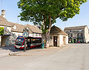 Pulhams bus service to Cheltenham in Northleach, Gloucestershire, Cotswolds, England, UK