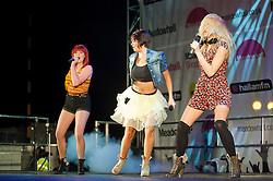 """Three piece Girl Band """"Girls Next Door"""" perform at Meadowhalls Christmas lights switch on concert in Sheffield on Thursday evening 3 November 2011. Image © Paul David Drabble"""
