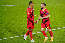 LEUVEN, BELGIUM - Sunday, November 15, 2020: Belgium's Dries Mertens (R) celebrates after scoring the second goal with team-mate Youri Tielemans during the UEFA Nations League Group Stage League A Group 2 match between England and Belgium at Den Dreef. (Pic by Jeroen Meuwsen/Orange Pictures via Propaganda)