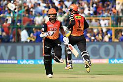 April 29, 2018 - Jaipur, Rajasthan, India - Sunrisers  Hyderabad batsman Shikhar Dhawan and Alex Hales running between the wicket during the IPL T20 match against Rajasthan Royals at Sawai Mansingh Stadium in Jaipur on 29th April,2018. (Credit Image: © Vishal Bhatnagar/NurPhoto via ZUMA Press)