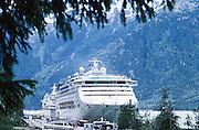 Skagway, Alaska. Dawn Princess cruise ship in skagway harbor.