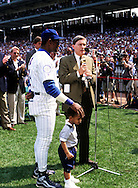 "CHICAGO, IL-SEPTEMBER 20:   Sammy Sosa of the Chicago Cubs receives an award from Major League Baseball Commissioner Bud Selig during Sammy Sosa day on September 20, 1998 at Wrigley Field in Chicago, Illinois.   Sammy Sosa and Mark McGwire were part of what has been called the ""Great Home Run Race of 1998"" between the two as they were both attempting to break the single season home run record of 61 held by Roger Maris since 1961.  (Photo by Ron Vesely)"