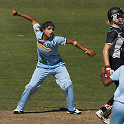 Shravanti Naidu celebrates after trapping New Zealand batter Haidee Tiffen LBW during the match between New Zealand and India in the Super 6 stage of the ICC Women's World Cup Cricket tournament at North Sydney  Oval, Sydney, Australia on March 17, 2009. New Zealand beat India by 5 wickets. Photo Tim Clayton